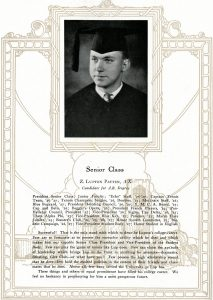 Senior portrait and biography of Z. Lupton Patten from the 1927 Moccasin yearbook