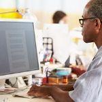 man learning Microsoft Word
