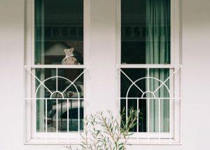 teddy bear in a window
