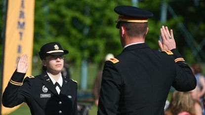 woman being sworn into the army