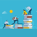 flat image design of business professionals climbing up a stack of books