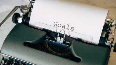 goals typed on typewriter