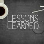 lessons learned written on chalkboard