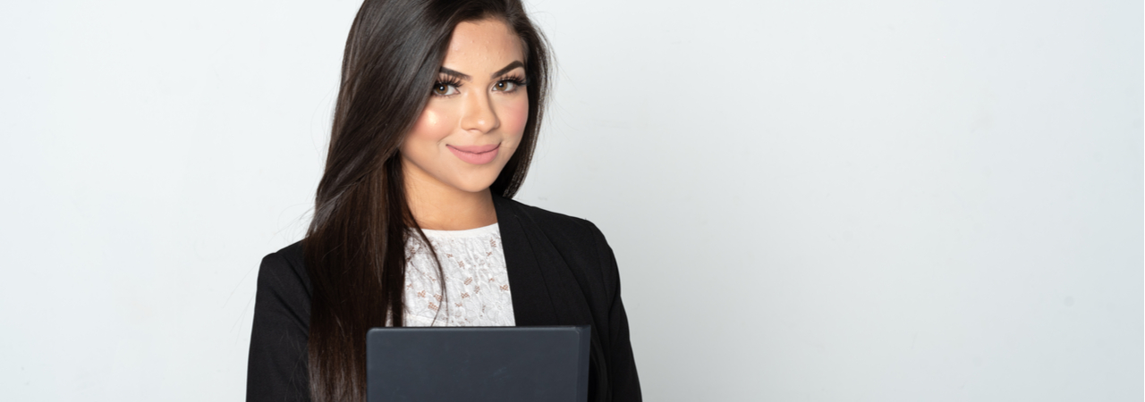 Hispanic woman paralegal holding folder
