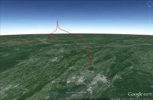 MOC1 flight path plotted using Google Earth.