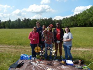 Students prior to launch of MOC1 on May 6, 2016. From left to right: Amee Patel, Daniel Johnson, Michael Holloway, Matt Joplin, Samaa Davies, and Nichole Shelton