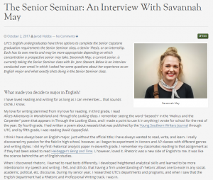 The interview I conducted with Savannah May.