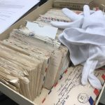 Box of WWII letters being processed while working as a Graduate Research Assistant for the Albert Gore Research Center.