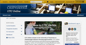 Screen Shote of UTC Online Homepage