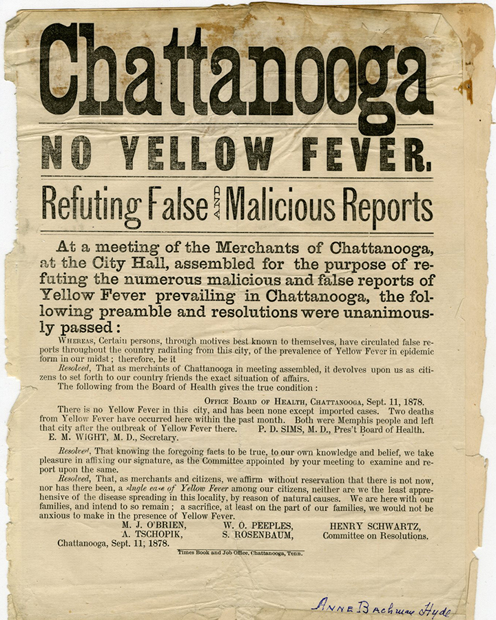 No Yellow Fever resolution. Document courtesy of Special Collections & University Archives, UTC Library, The University of Tennessee at Chattanooga.