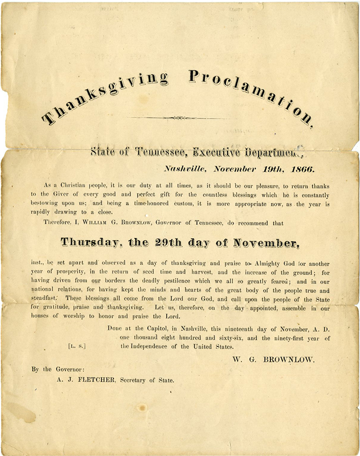 State of Tennessee Thanksgiving Proclamation. Document courtesy of Special Collections & University Archives, UTC Library, The University of Tennessee at Chattanooga.