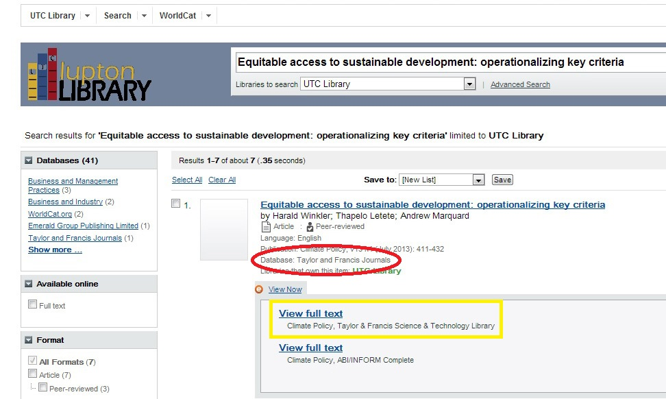 Screen Shot of Search Results