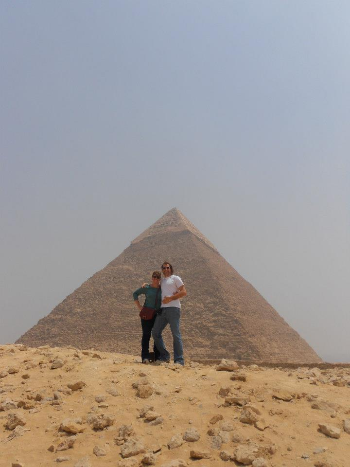 Carolyn with her youngest brother, Cory, in front of Khafre's pyramid at Giza.
