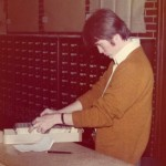 Student researching the old school way: with a card catalog. Photo courtesy of Special Collections & University Archives, UTC Library, The University of Tennessee at Chattanooga.