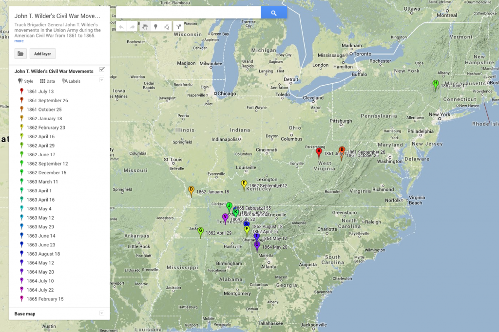 Interactive map of the John T. Wilder Civil War Correspondence and Papers digital collection.