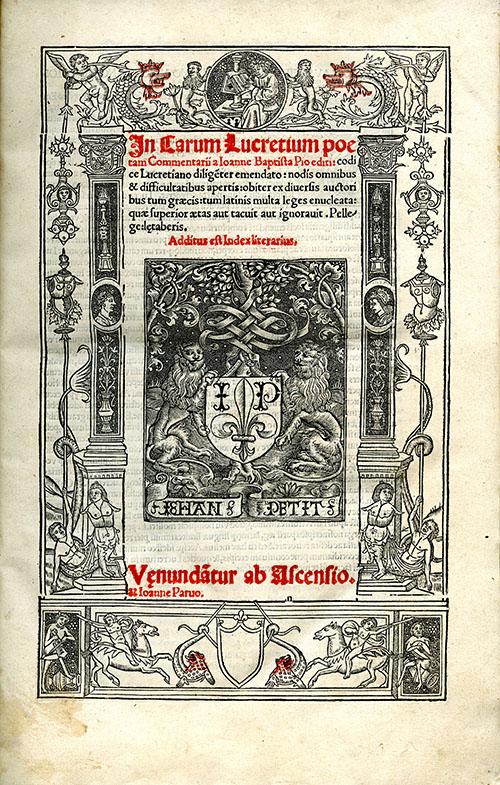 Title page from In Carum Lucretium Poetam: Commentarii a Ioanne Baptista Pio Editi.