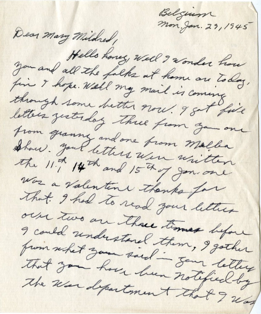 First page of a January 29, 1945 letter from PFC Jones to his wife, Mary Mildred. Photo courtesy of Special Collections & University Archives, UTC Library, The University of Tennessee at Chattanooga.
