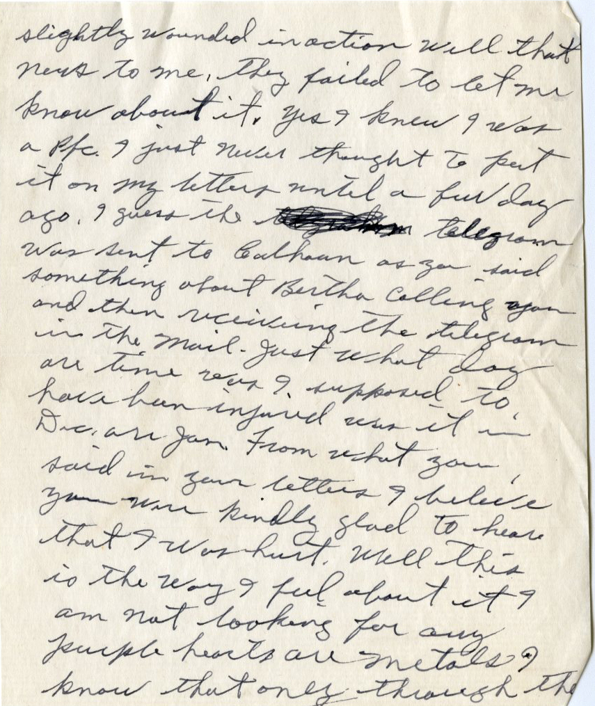 Second page of a January 29, 1945 letter from PFC Jones to his wife, Mary Mildred. Photo courtesy of Special Collections & University Archives, UTC Library, The University of Tennessee at Chattanooga.