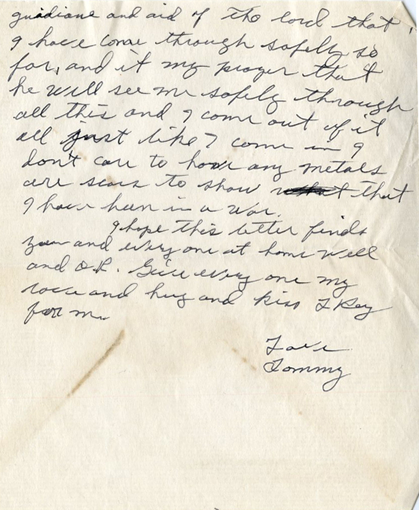 Third page of a January 29, 1945 letter from PFC Jones to his wife, Mary Mildred. Photo courtesy of Special Collections & University Archives, UTC Library, The University of Tennessee at Chattanooga.
