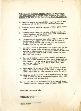Rules for discussion of racial discrimination in public schools, 1955
