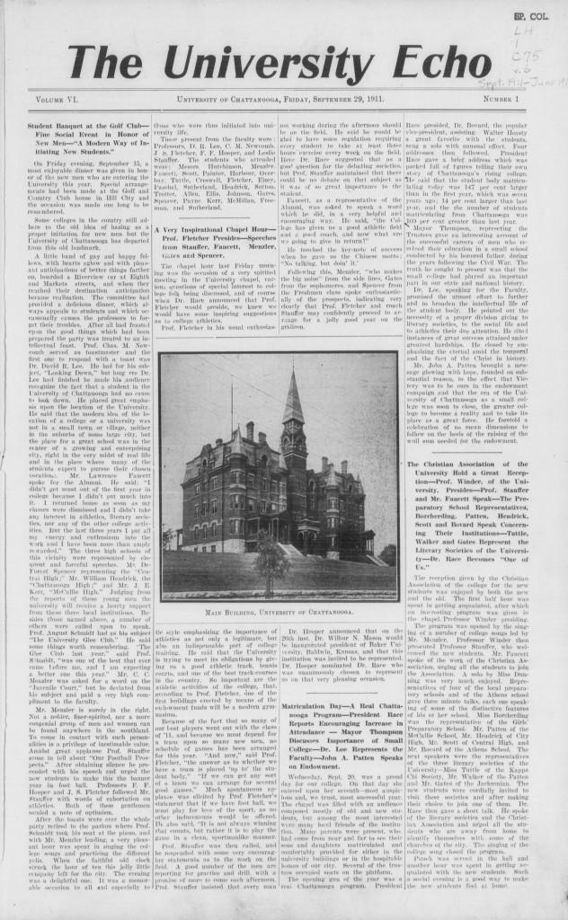 University Echo, Vol. VI, No. 1