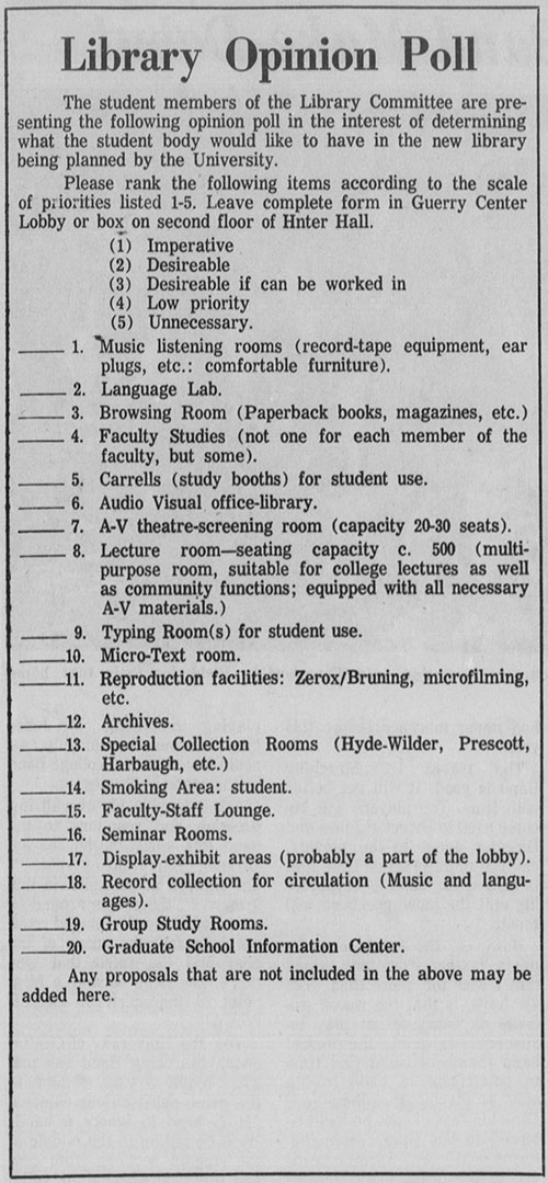 Library Opinion Poll published in the October 13, 1967 issue of the  University Echo.