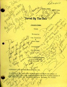 """Dennis Haskins script for """"Jessie's Song"""" signed by the cast of Saved by the Bell."""