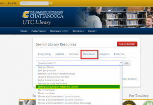 screen shot of Databases tab on UTC Library Home Page
