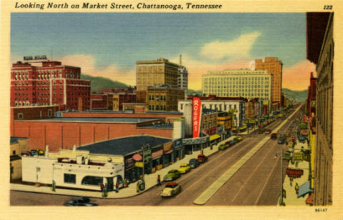 Looking north on Market Street, Chattanooga, Tennessee postcard, circa 1958-1979