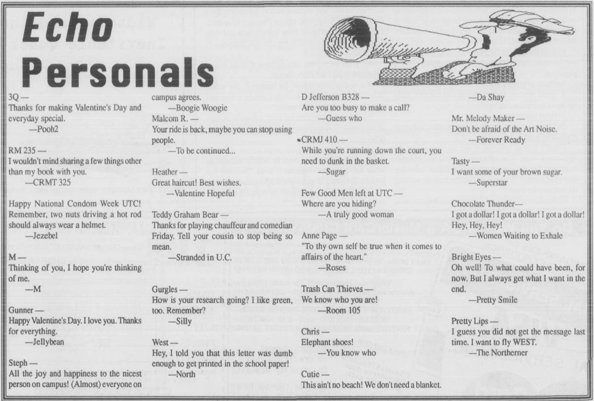 Echo Personals, University echo, Vol. 95, No. 20, University of Tennessee at Chattanooga Echo Student Newspapers, Special Collections, University of Tennessee at Chattanooga