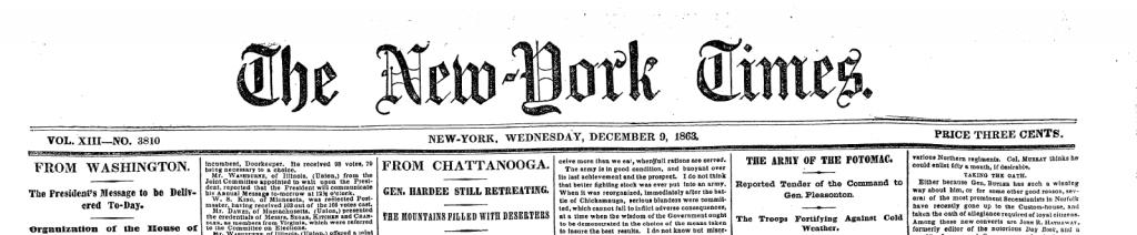 Historic New York Times mast head