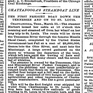 newspaper Chattanooga steamboat line