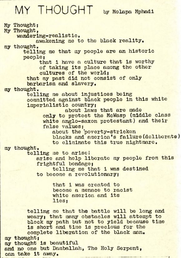 My Thought, a by Molapa Mphadi published in the April 25, 1970 issue of the Black United Front newsletter.