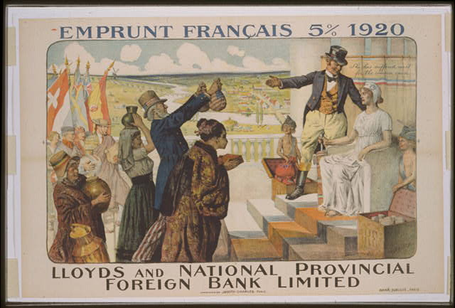 Lloyds and National Provincial Foreign Bank Emprunt national 5% 1920 poster, Special Collections, University of Tennessee at Chattanooga