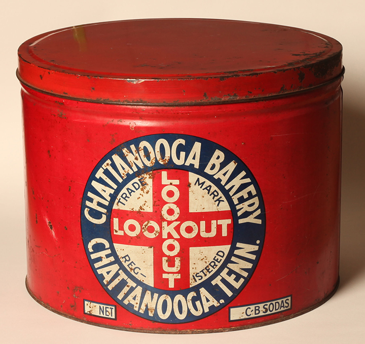 CHC-1988-106-009. Chattanooga Bakery tin. Courtesy of the Chattanooga Public Library and University of Tennessee at Chattanooga Special Collections.