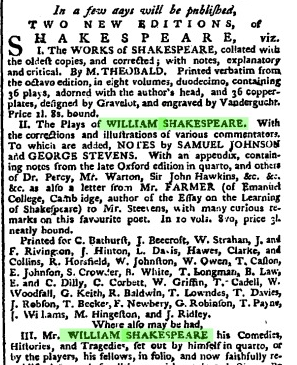 Publication of the Works of William Shkespeare