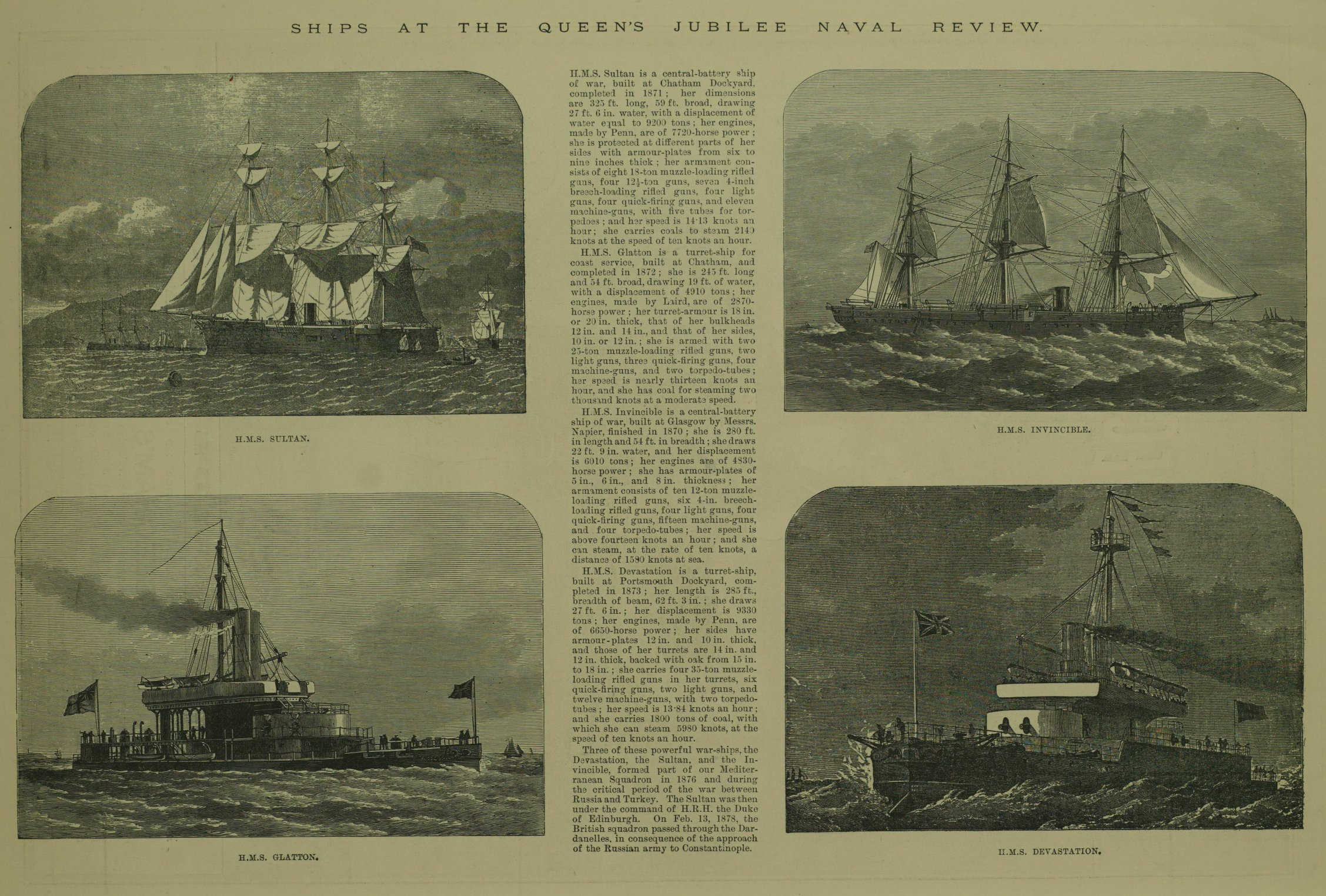 intricate illustrations of British warships from 1887