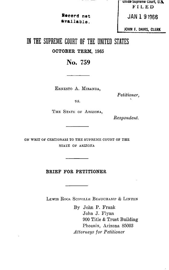 miranda v arizona case citation