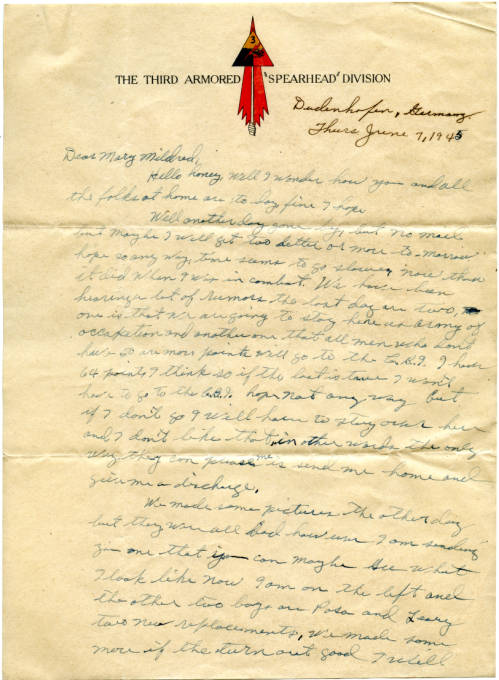 Thomas R. Jones, Sr. correspondence with Mary Mildred Jones, 1945 June 7