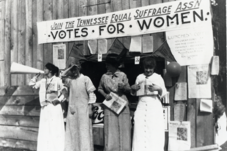 Women of the Tennessee Equal Suffrage Association campaigning for voting rights.