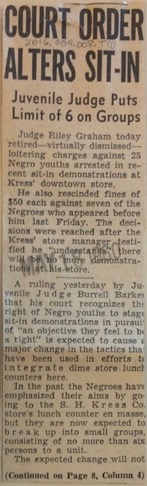 A newspaper clipping from the Chattanooga Times recording a court order that limited sit-in participants to 6. Courtesy of the Chattanooga Public Library and University of Tennessee at Chattanooga Special Collections.