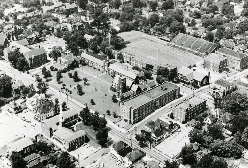 Aerial view of campus, circa 1960s
