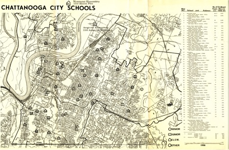 Map that locates each of Chattanooga's 45 public schools as of the 1968-1969 school year. The key to the map also lists each school's address, enrollment, and number of teachers. Courtesy of the University of Tennessee at Chattanooga Special Collections.