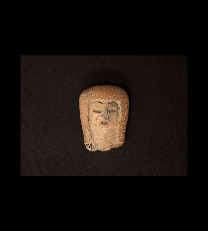 Pre-Columbian solid figure depicting a human head. Courtesy of the University of Tennessee at Chattanooga Special Collections.