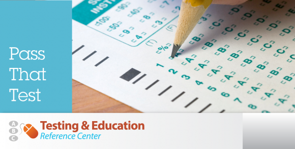 "Testing and Education Reference Center promotional image with scantron that reads ""Pass That Test"""