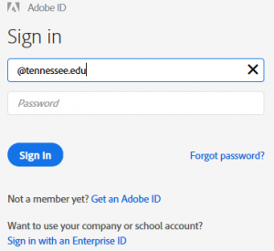Adobe log in screenshot