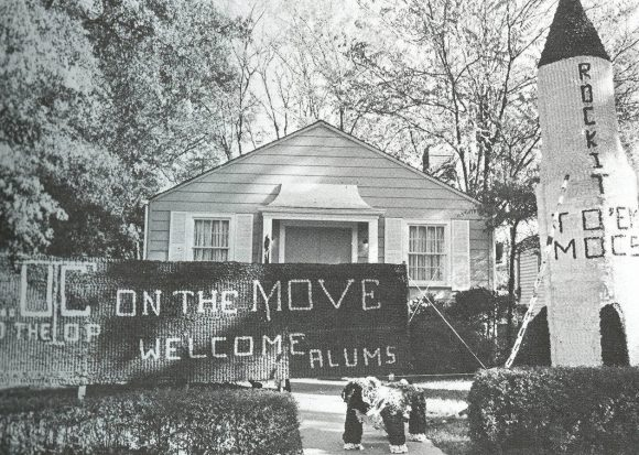Photograph of Phi Mu's homecoming decorations.