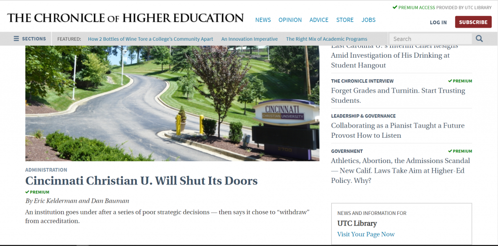 screenshot of chronicle of higher education
