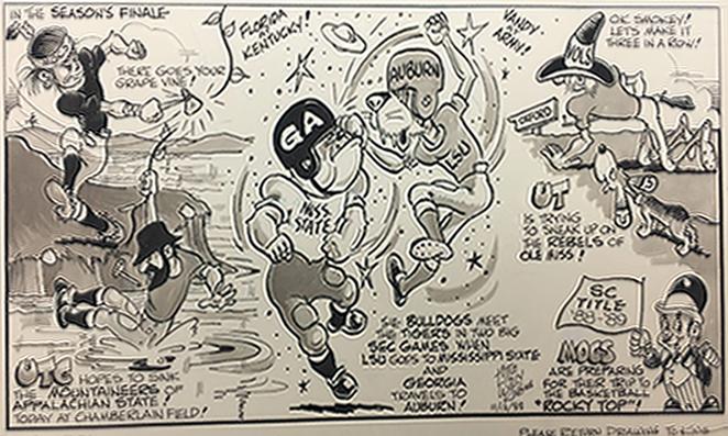 Collegiate football cartoon, 1988 November 12