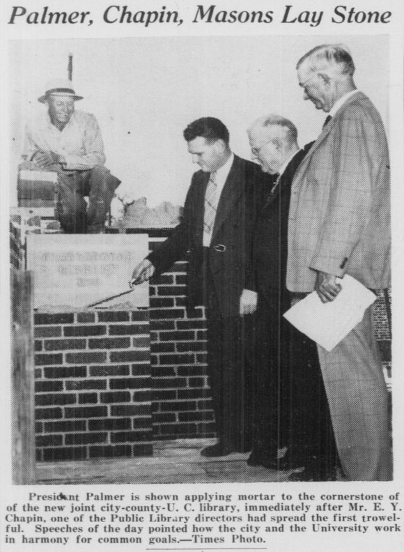 A photograph of the cornerstone for Fletcher Hall being laid